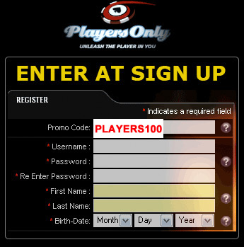 Players Only Promotion code